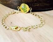 Botanical Pressed Leaf jewelry bracelet, Real leaf, resin jewelry