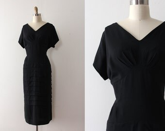 CLEARANCE vintage 1950s dress // 50s black rayon dress in larger size