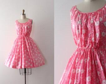 vintage 1950s dress // 50s 60s pink floral day dress