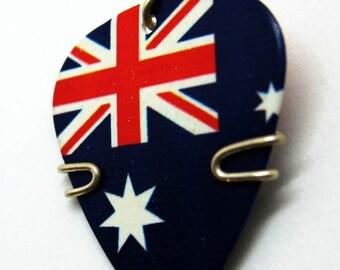 UK Guitar Pick Pendant with White Stars