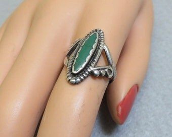 Native American Turquoise RIng,  Size 6.75, Vintage,  Signed