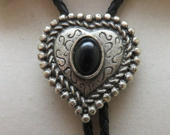Southwestern Heart Shaped Pewtertone Metal and Black Lucite Bolo Tie, Vintage