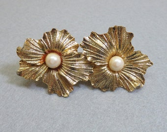 Vintage Golden Metal Two Flower Hair Barrette, Pearl Accents