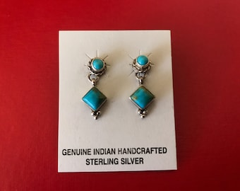 Native American Sterling Silver and Turquoise Geometric Pierced Small Dangle Earrings