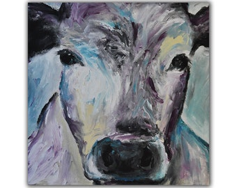Cow Original Painting, Western Decor, Ranch Painting, Turquoise, Violet, Black