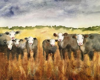 Cow art, Cattle ranch painting, Cowboy Original Watercolor Painting - brown, rust, black, gray