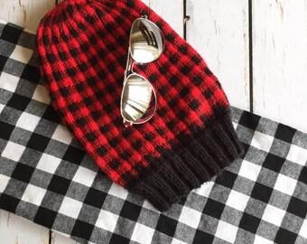 Knit Buffalo Plaid Hat Pattern, PDF Knitting Pattern, Hat Lumberjack Plaid Hat, Hipster Hat Pattern, Digital Download