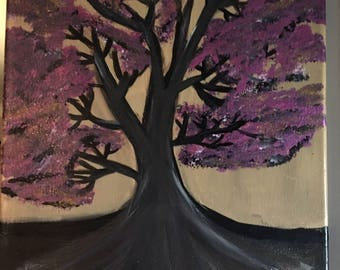Purple Tree -11x14 canvas