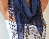 Dark Blue Scarf, Cotton Scarf - Shawl - Cowl Scarf with Lace Edge - fatwoman