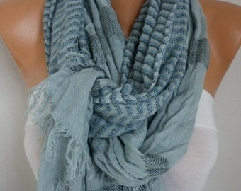 ON SALE --- Grey Cotton Tartan Scarf,So soft,winter shawl,Plaid Men Scarf, Cowl,Gift Ideas for her him,fashion accessories