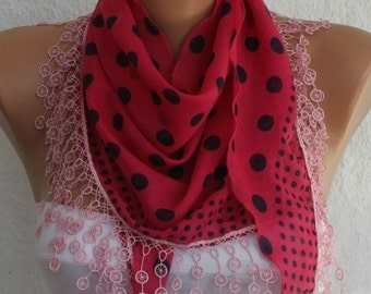 ON SALE --- Pink & Black Polka Dot  Cotton Scarf,Fall Fashion ,Necklace,Shawl, Cowl Scarf,Gift Ideas For Her, Women Fashion Accessories