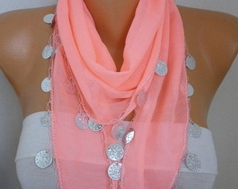 ON SALE --- Coral Cotton Scarf with Charm,Tribal Scarf,Belly Dance,Belly dancer,Handmade,Cowl Scarf Gift Ideas For Her Women Fashion Accesso