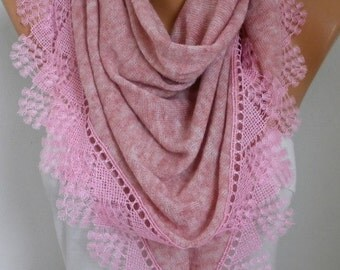 Dusty Pink Knitted Scarf Shawl Cowl Lace Oversized Bridesmaid Bridal Accessories Gift Ideas For Her Women Fashion Accessories,Valentine Gift