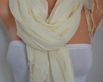 ON SALE --- Cream Cotton Scarf,Spring Summer Shawl, Cowl, Bridesmaid Gift, Pareo Gift Ideas For Her, Women Fashion Accessories, Women Scarve