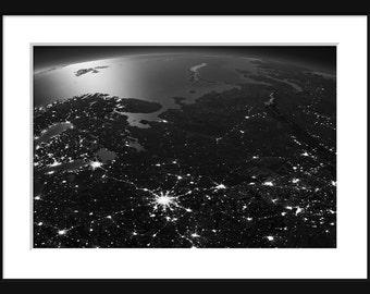 NASA - Earth At Night - Eastern Europe - Print - Poster Black & White