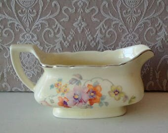 Vintage Gravy Boat, Creamer, Floral design, W.S. George, Canarytone China, Shabby chic, Vintage Home decor