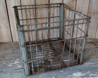 Vintage metal Crate, Square Dairy Milk Crate, Heavy Metal Storage Crate, Industrial chic, Urban Farmhouse