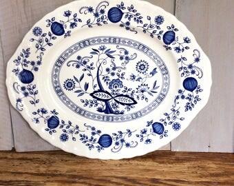 Vintage Enoch Wedgwood Blue Heritage Platter / Blue and White Serving Platter / Blue Onion Platter