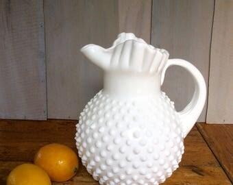 Vintage Hobnail Milk Glass Water Pitcher / Fenton Pitcher / White Pitcher