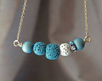 Dark Teal Blue Aromatherapy Necklace Essential Oil Diffuser Necklace Druzy Lava Stone