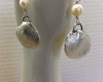 Silver shell earrings, fine silver, pmc and sterling, akoya pearl