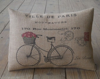 French bicycle Postcard Burlap Pillow, Roses bike Pillow, Travel, Shabby Chic, Industrial Chic,  INSERT INCLUDED