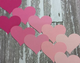 20 Die Cut Hearts in Shades of Pink