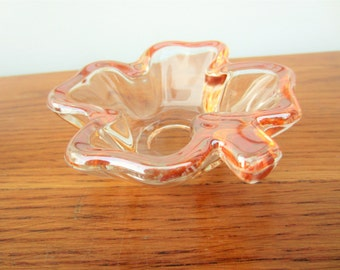 Lucky 4 leaf pink clover glass ring dish.  Ring dish.