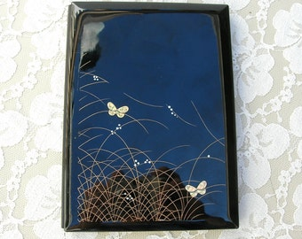 """Japanese 2-Picture Frame - opens, gold butterflies, inside - oval and rectangle frames, black lacquer style, 5x7"""""""