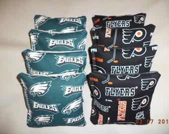Cornhole bags Philadelphia Eagles and Dallas Philadelphia Flyers bean bags 8 ACA Reg. size Baggo bags