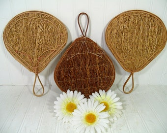 Set of 3 Fans Bamboo & Seaweed Oriental Asian Inspired Style - Vintage Indonesian Handmade Seagrass Woven Art Decor Handheld Fans Collection