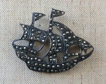 Vintage Sterling Marcasite Ship Brooch