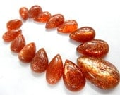 Sun-Stone Cabochon Super Top AAA High Quality Natural Sun Stone Cabochon Pear Drops 87Ct-Size- 8x12-16x23MM -15Pc-Wholesale Price