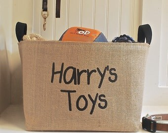Personalized Toys Storage Basket, Black
