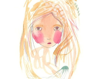 Blonde hair girl, blonde painting, abstract girl illustration print