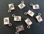 20 x Antique Silver Tiny Playing Card Charms Tiny Aces Pendants Keys 6.5mm