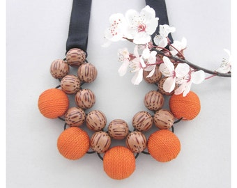 Wooden Bead Necklace / Bib Necklace /  Wooden Necklace / Large Bead Necklace /  Chunky Necklace / Palmwood & Orange Fabric Beads Necklace