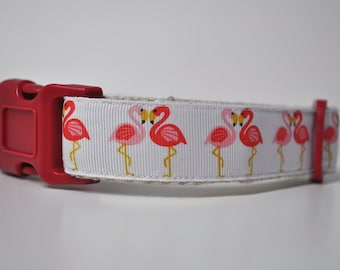 Dog Collar Hemp Webbing  - 'Pretty Flamingo' - 50% Profits to Dog Rescue