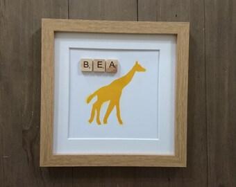 Giraffe frame, nursery decor, giraffe birthday frame, child frame, personalised frame, giraffe, personalised, nursery art