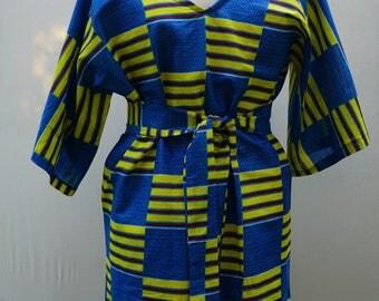 Tribal Print Dress, V neck Dress, Kente Dress, Tunic Dress, African Fashion, Short Dress, African Print Dress