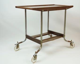 Funky cool 60s rolling cart / Mid Century mobile cart / Vintage rolling bar cart / Danish modern serving cart