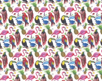 "S/S 2017 -  Liberty Tana Lawn fabric BIRDS OF PARADISE - 17"" wide x 13"" (43cm x 33cm)"