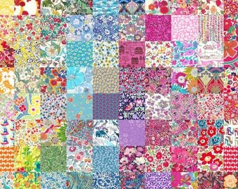 50 Liberty Lawn fabric 2.5'' Patchwork Mini Charm Squares - LUCKY DIP - all different