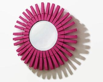 Hot Pink Clothes Pin Sunburst Mirror, Sunburst Mirror, Clothes Pin Mirror, Wall Hanging, Wall Decor, Laundry Room Decor, Home Decor