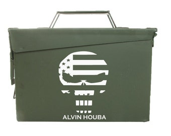 Personalized Ammo Box - Punisher Skull, American Flag, ammo box, ammo can, law enforcement