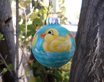 Hand painted  Rubber Duck Ornament , Personalized, baby shower, Baby Christmas ornament