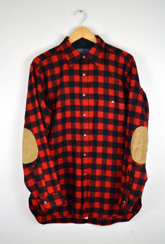 Pendleton Buffalo Plaid Red Black Wool Button Down Shirt