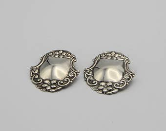 Sterling Silver Repousse Luggage Tag Clip Earrings