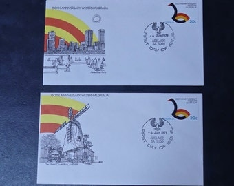 "Vintage Official Australia Post First Day of Issue Covers  No 128 & 129-""150th Anniversary Western Australia"" 1979"