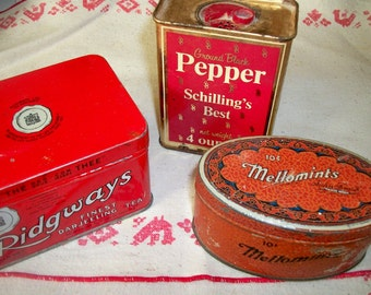 Mellomints, Ridgeways tea, Schilling's pepper vintage tins, set of three